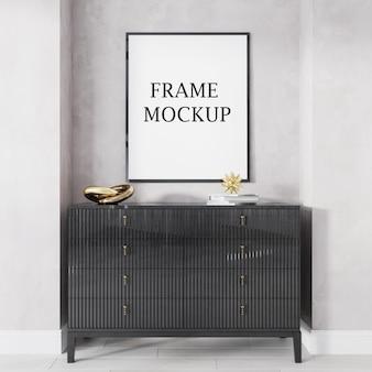 Black picture frame mockup in 3d rendering