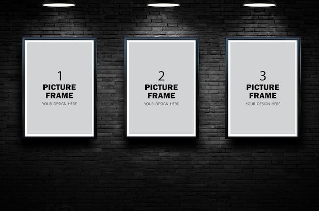 Black picture frame mockup on black dark room wall