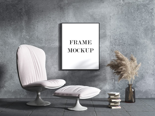 Black picture frame mockup on concrete wall 3d visualization