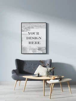 Black picture frame mockup on grey wall in modern room
