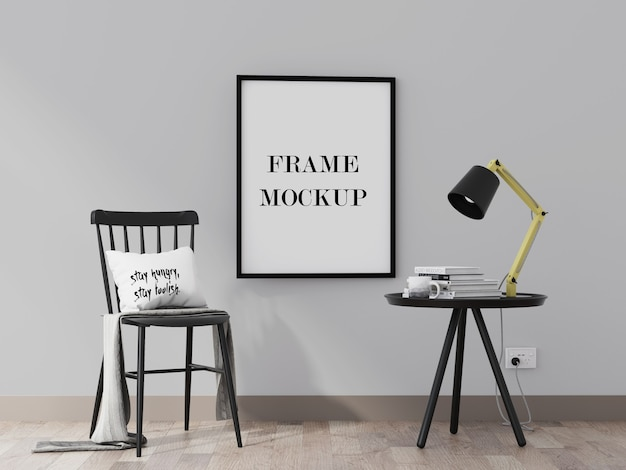 Black picture frame mockup in interior with black furniture