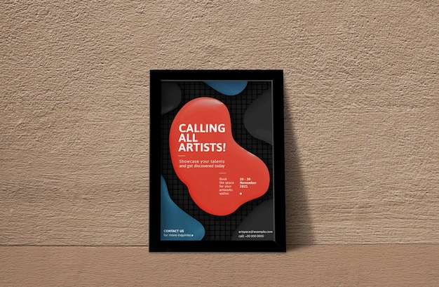 Black picture frame mockup psd with modern color paint drop art photo on the wall