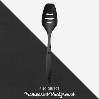 Black plastic spoon on transparent background