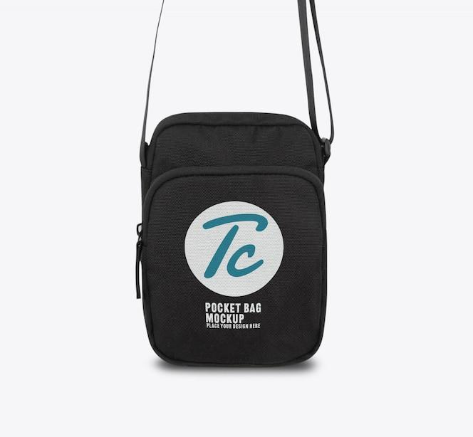 디자인을위한 검은 주머니 가방 모형 템플릿