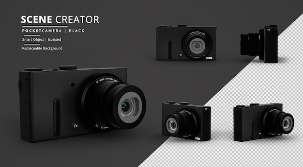 Black pocket camera scene creator