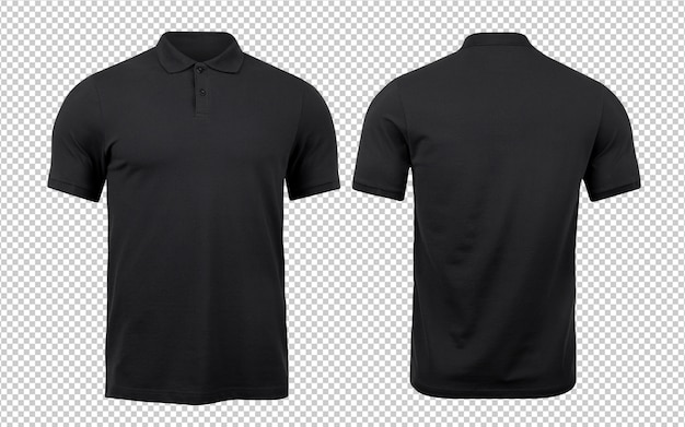 Black polo mockup front and back used as design template.