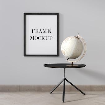 Черный макет рамки плаката на серой стене 3d-рендеринга