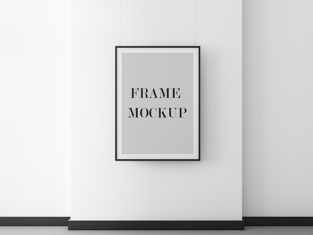 Black poster frame mockup on white wall