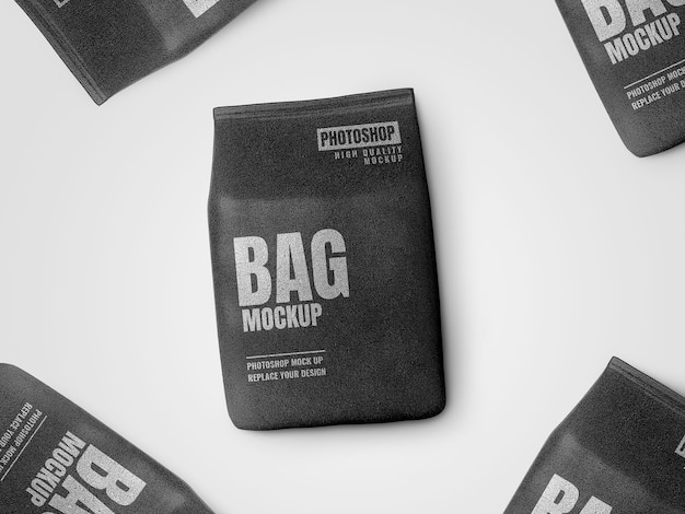 Black pouch bag on floor mockup realistic