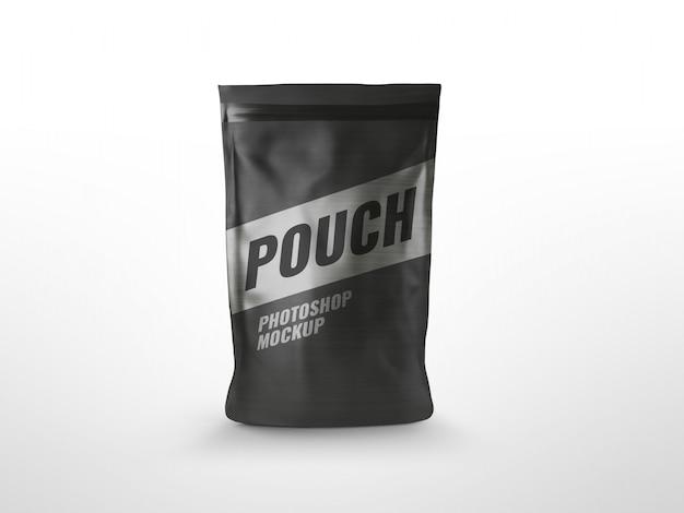 Black pouch ziplock bag mockup