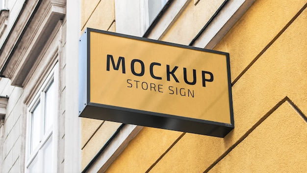 Black rectangular store logo sign mockup