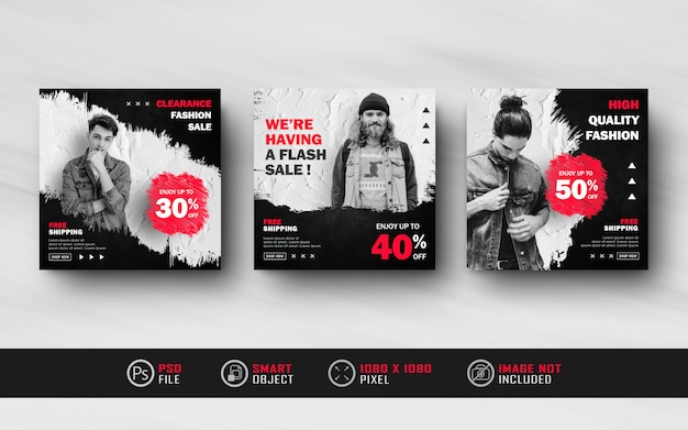 Black red instagram social media post feed banner template with splash style
