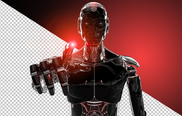 Black and red intelligent robot pointing finger