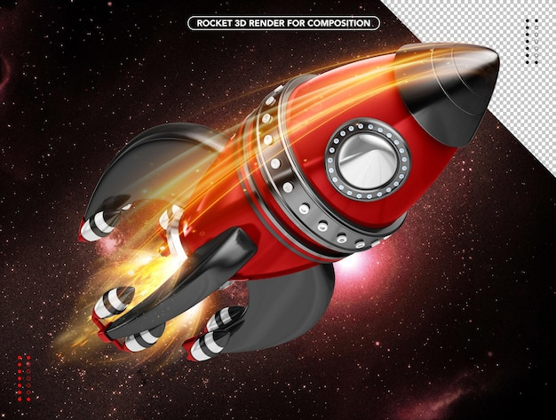 Black and red realistic 3d rocket flying overhead