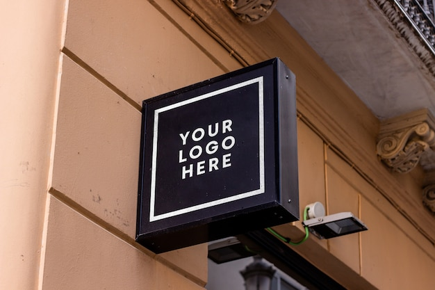 Black restaurant sign logo mockup