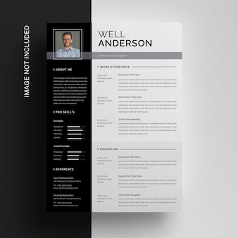 Black resume template with sidebar