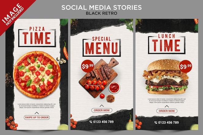 블랙 레트로 소셜 미디어 스토리 시리즈
