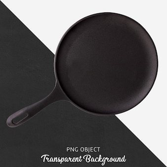 Black round pan on transparent background