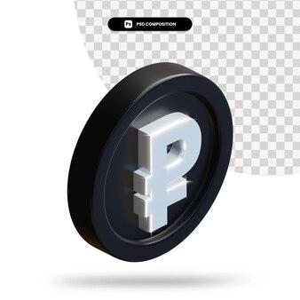 Черный рубль монета 3d-рендеринга изолированные