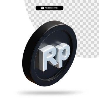 Черная рупия монета 3d-рендеринга изолированные