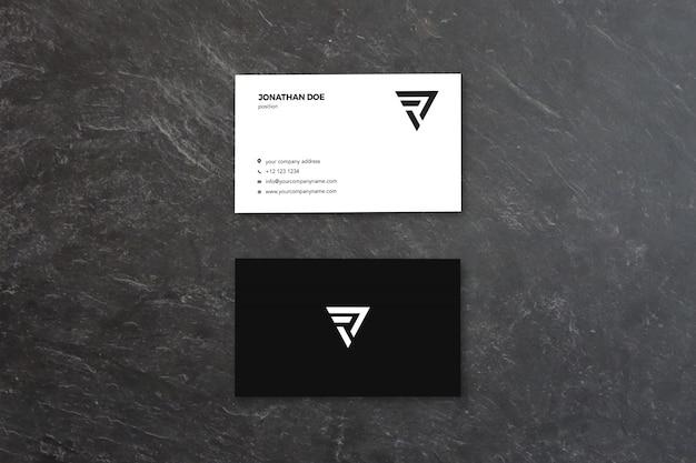 검은 색 소박한 표면 세로 명함 모형