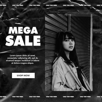 Black sale social media instagram post template