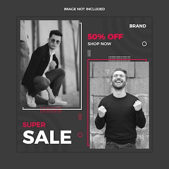Black sale social media instagram post template