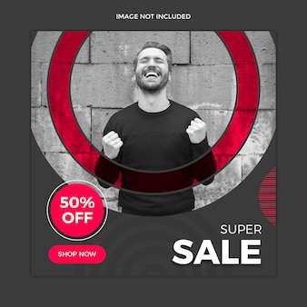 Black sale social media post template design