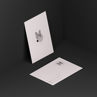 Black scene with business card mockup