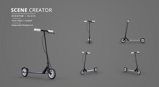 Черный скутер в создателе сцен на темном фоне