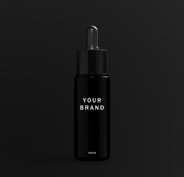 Реалистичный макет черной сыворотки для ухода за кожей
