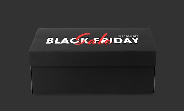 Black shoebox with black friday campaign mockup