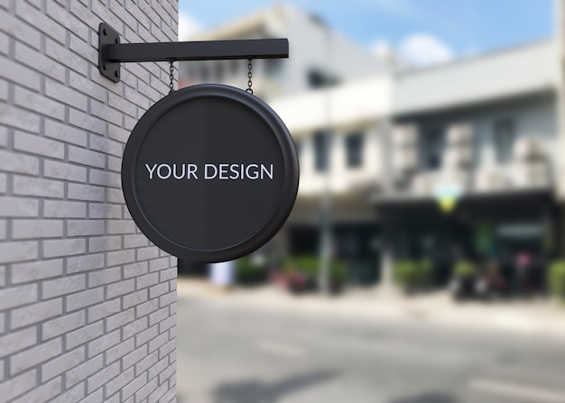 Black shop sign mockup