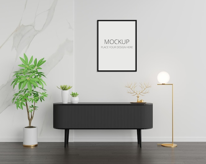 Black sideboard in living room interior with copy space