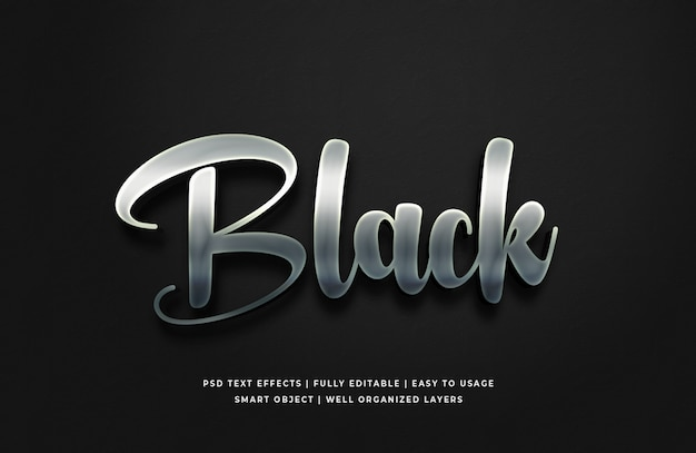 Black silver 3d text style effect