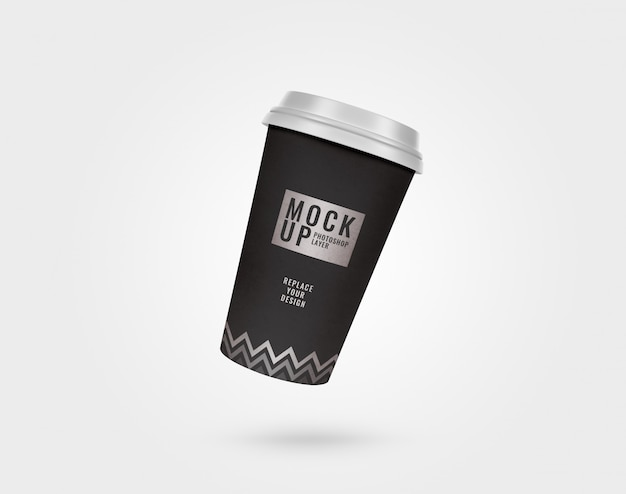 Black and silver minimal paper cup and plastic lid mockup