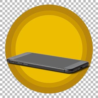 透明な背景の上の黒いスマートフォン