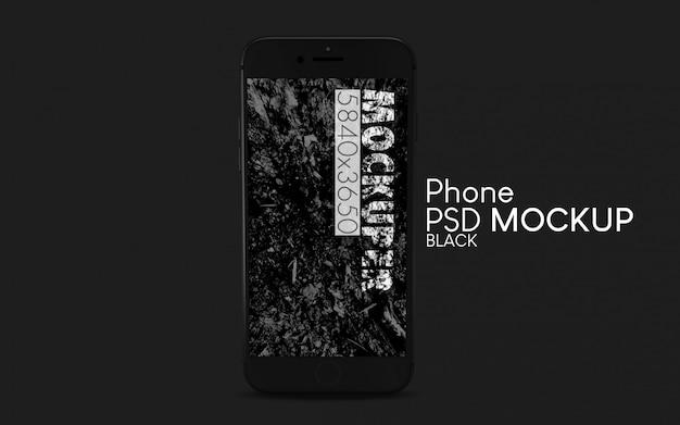 黒いスマートフォンpsdモックアップ