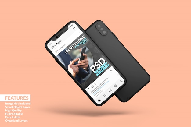 黒いスマートフォン画面モックアッププレミアム