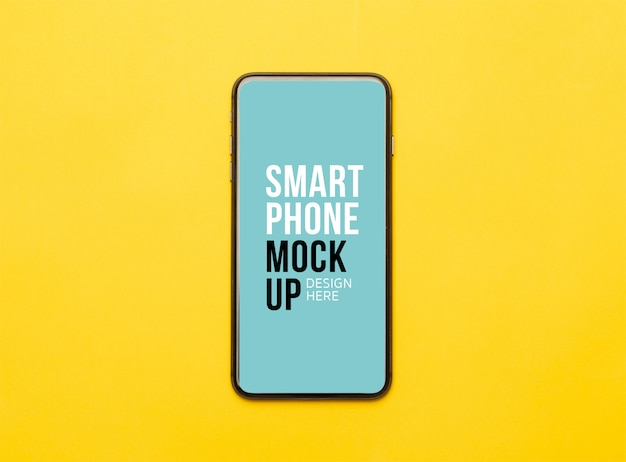 Black smartphone with screen on yellow. mockup template for your design