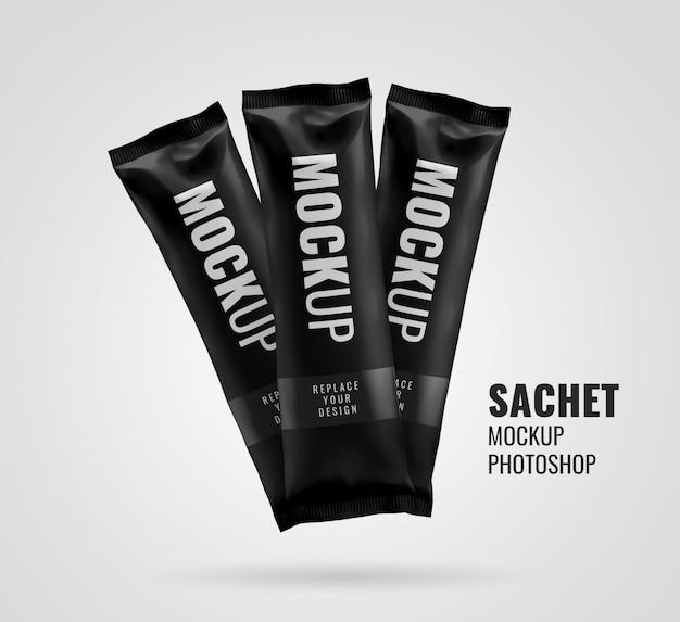 Black snack sachet bar realistic mockup rendering