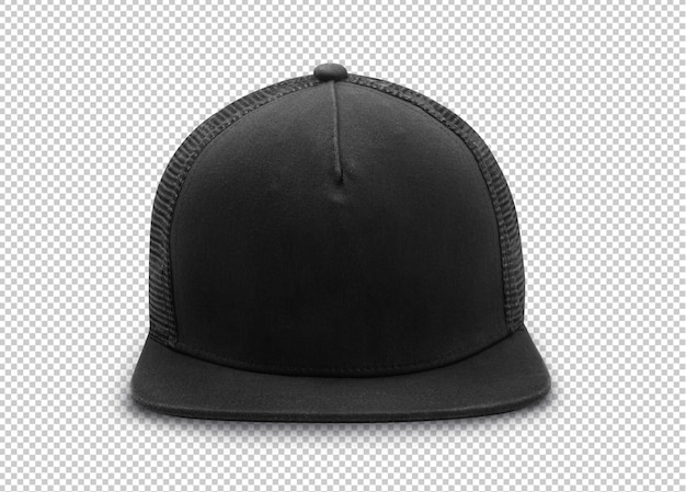 Black snapback cap mockup template  on transparent .