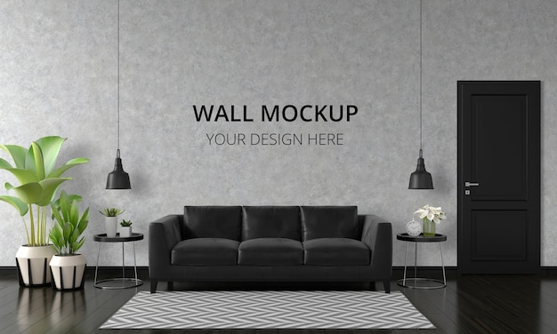 Black sofa in living room interior with wall mockup