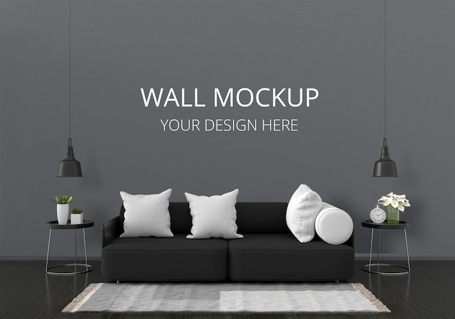 Black sofa in living room with wall mockup