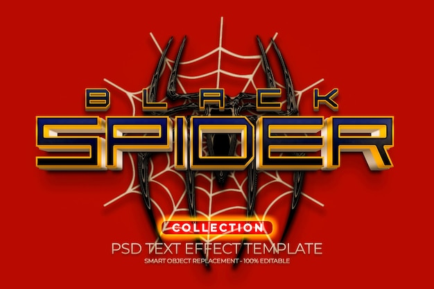 Black spider gold text effect