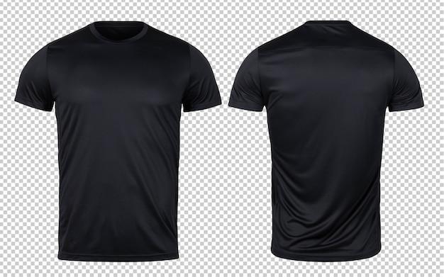 디자인을위한 블랙 스포츠 티셔츠 전면 및 후면 모형 템플릿