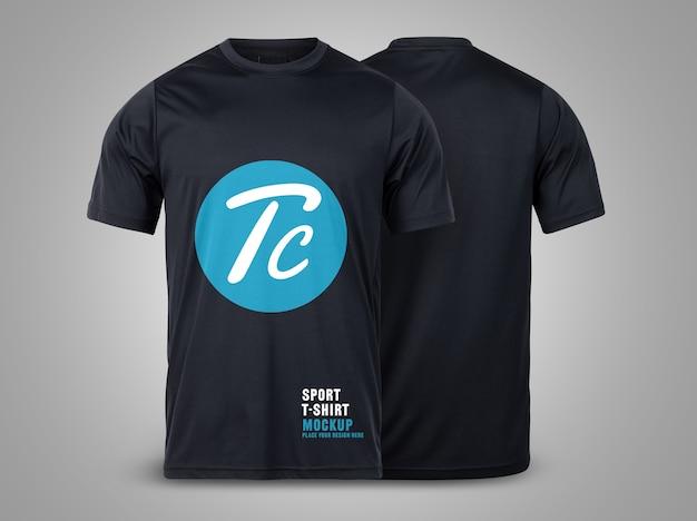 디자인을위한 블랙 스포츠 티셔츠 앞면과 뒷면 모형 템플릿