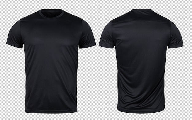 Black sport t-shirts front and back mock-up template for your design