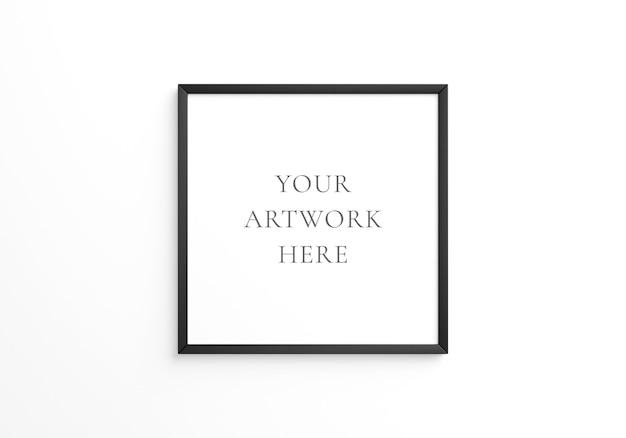 흰색 벽에 검정 사각형 프레임 모형입니다. 3d 렌더링.