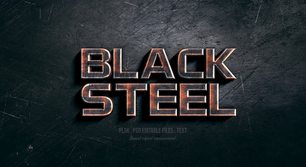 Black steel 3d text style effect